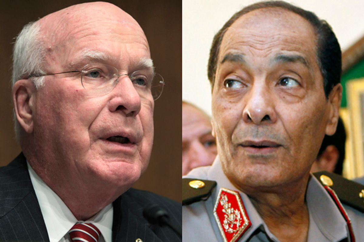 Sen. Patrick Leahy, left, and Field Marshal Mohamed Hussein Tantawi, head of Egyptian armed forces            (AP/Reuters)