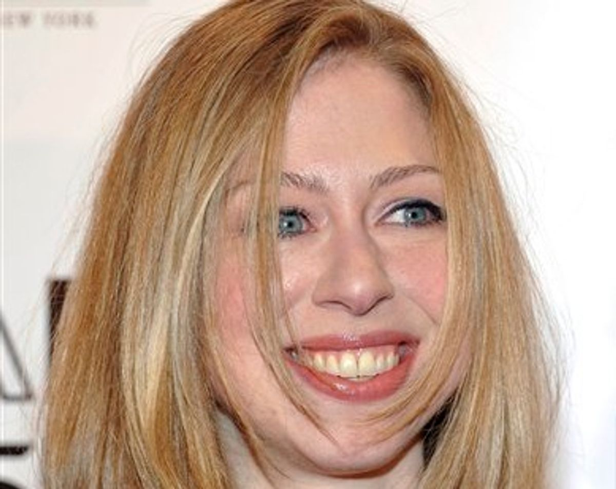 In this Feb. 9, 2011 photo, Chelsea Clinton attends amfAR's annual New York Gala at Cipriani Wall Street in New York. (AP Photo/Evan Agostini)  (AP)