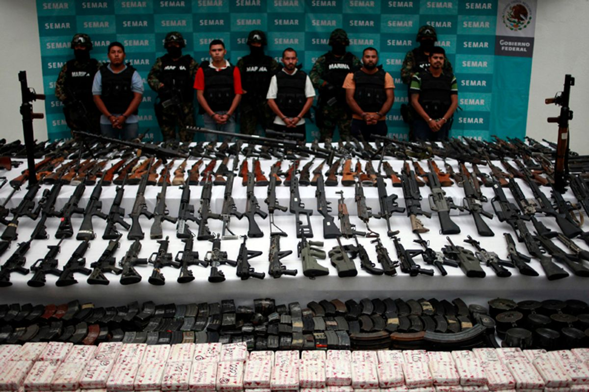 Rifles, guns, hand grenades, uniforms of the Mexican navy and the U.S. Army, cartridges and cocaine were seized in an operation against the Zetas drug cartel in Coahuila and Nuevo Leon in the north of Mexico.      (Jorge Lopez / Reuters)