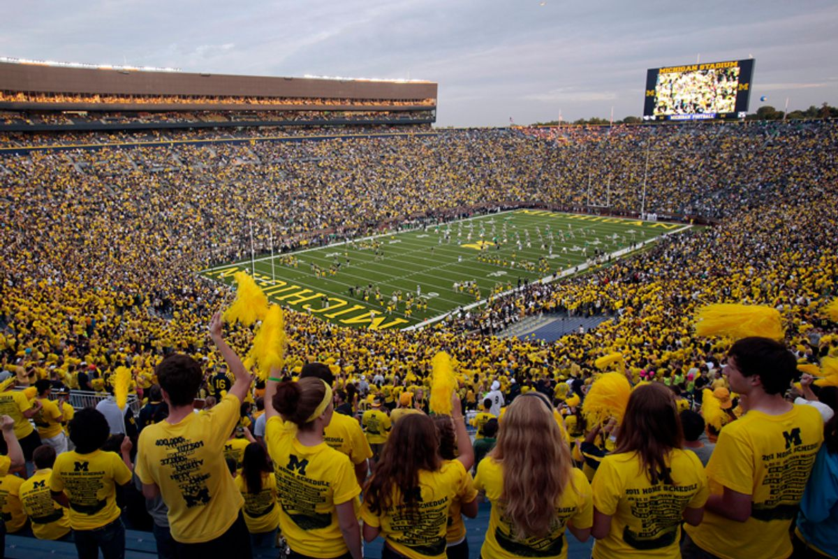 Michigan Stadium is seen before the start of the NCAA college football game between Michigan and Notre Dame  in Ann Arbor, Michigan September 10, 2011.       (Rebecca Cook / Reuters)