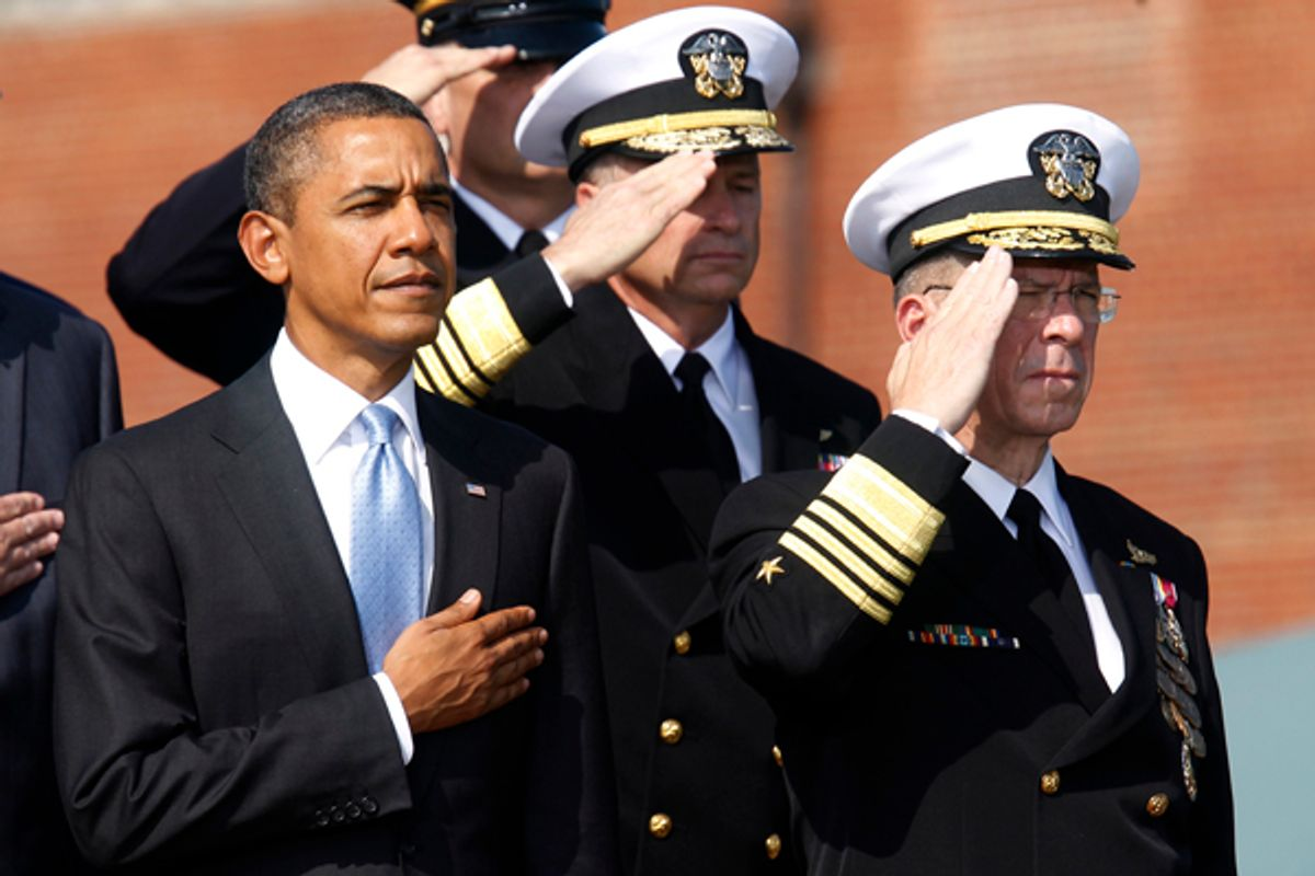 President Obama and outgoing Chairman of the Joint Chiefs of Staff Admiral Mike Mullen in September 2011.  (Kevin Lamarque / Reuters)