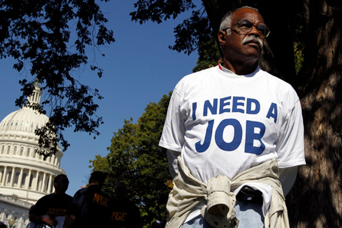 Mervin Sealy from Hickory, North Carolina, takes part in a protest rally outside the Capitol Building in Washington, October 5, 2011.      (Jason Reed / Reuters)