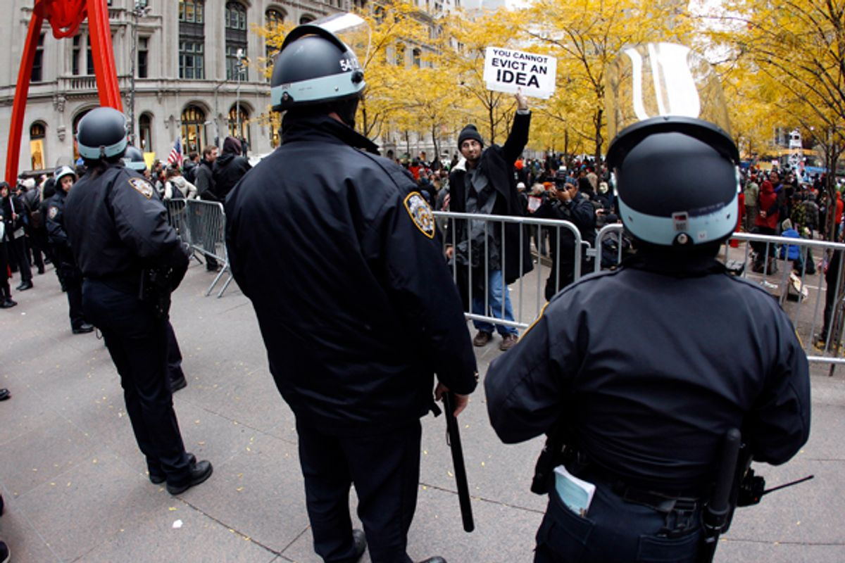 New York City Police stand outside Zuccotti Park during Occupy Wall Street demonstrations in lower Manhattan.    (Mike Segar / Reuters)