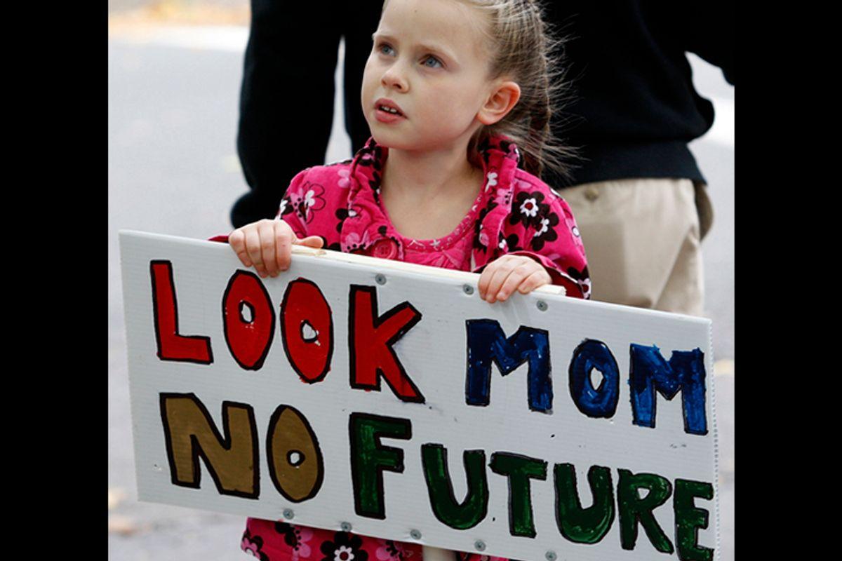 Abigail Garrett, 6, of Hamden, Connecticut contemplates her future           (Jessica Rinaldi / Reuters)