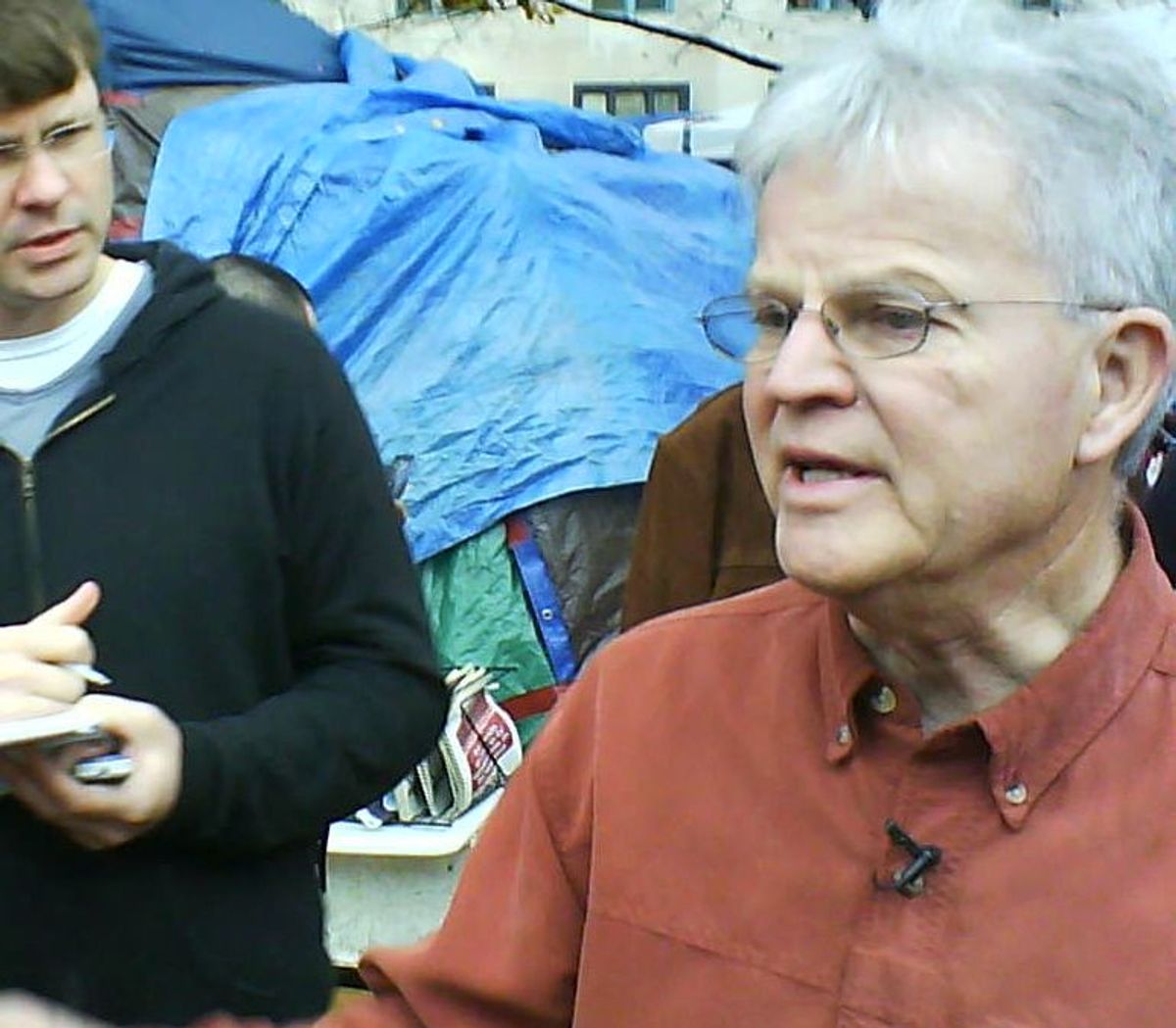 Republican presidential candidate Buddy Roemer visits Occupy DC on Nov. 23.     (Zaid Jilani)