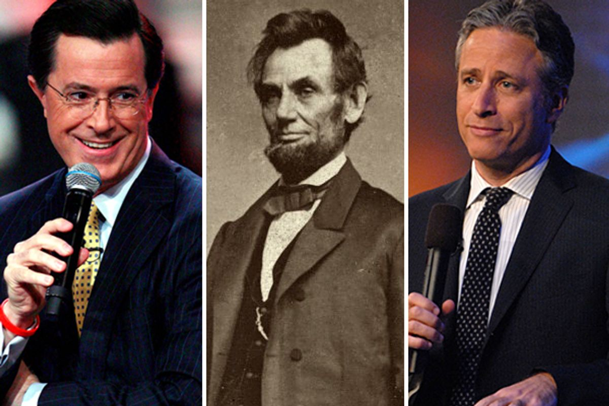 Stephen Colbert, President Abraham Lincoln, Jon Stewart      (AP/<span about='http://www.flickr.com/photos/george_eastman_house/2719970005/' xmlns:cc='http://creativecommons.org/ns#'><a href='http://www.flickr.com/photos/george_eastman_house/2719970005/' rel='cc:attributionURL' target='_blank'>George Eastman House</a> / <a href='http://creativecommons.org/licenses/by/3.0/' rel='license' target='_blank'>CC BY 3.0</a></span>)