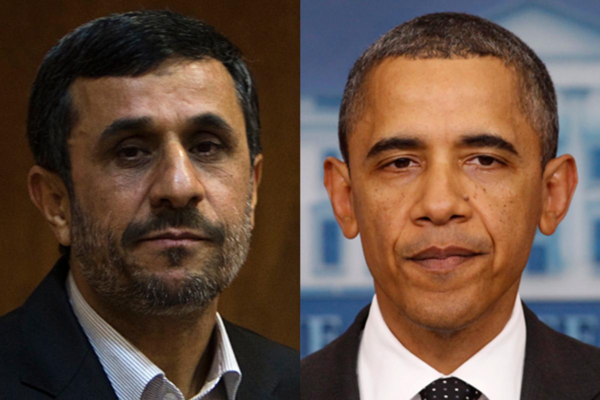 Iranian President Mahmoud Ahmadinejad and President Barack Obama      (Reuters)