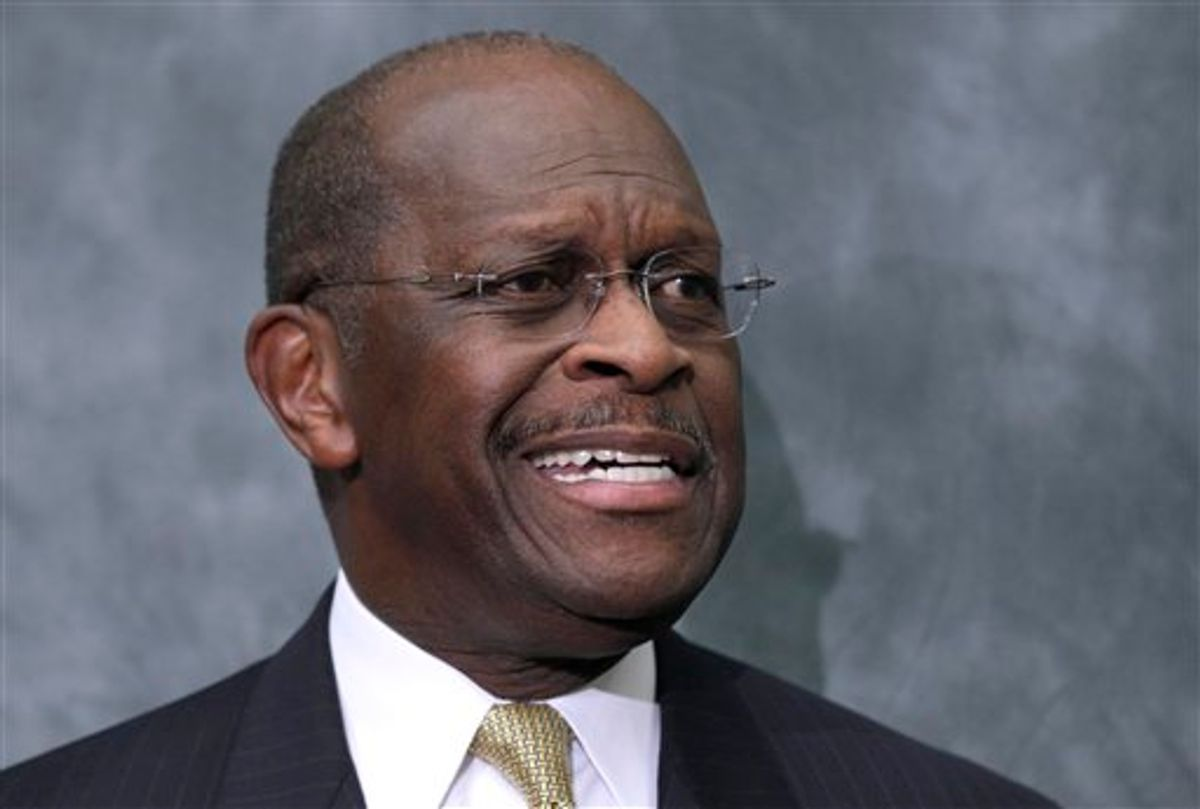 Republican presidential candidate Herman Cain speaks at the Congressional Health Caucus Thought Leaders Series, Wednesday, Nov. 2, 2011, on Capitol Hill in Washington. (AP Photo/Carolyn Kaster)     (AP)