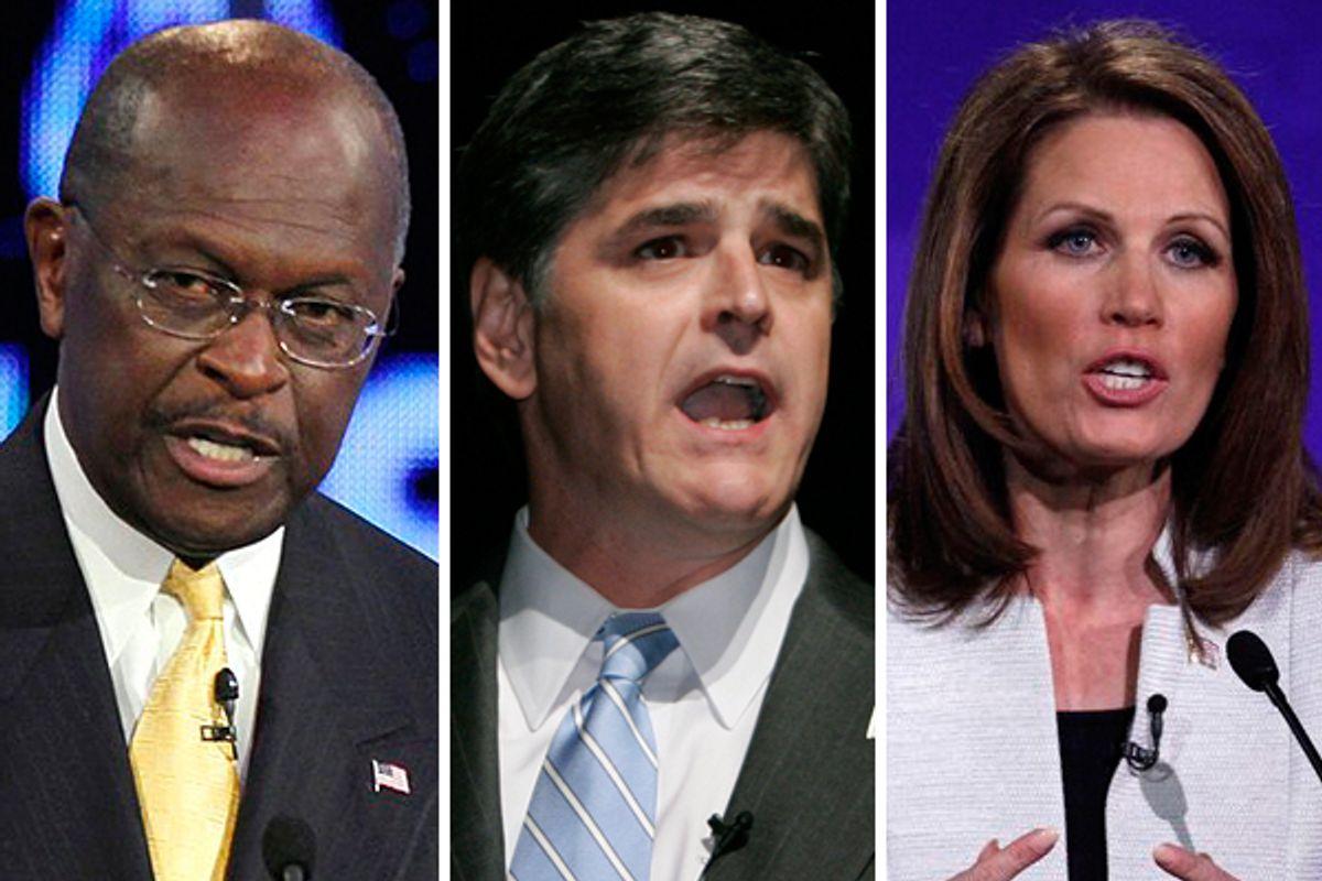 Herman Cain, Sean Hannity and Rep. Michele Bachmann        (AP)