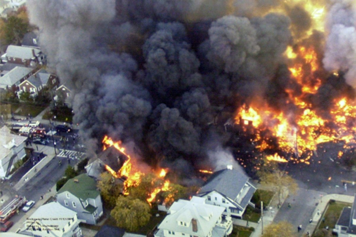 New York's Belle Harbor neighborhood, after the crash of American Airlines Flight 587 on Nov. 12, 2001.    (AP/New York Police Department)