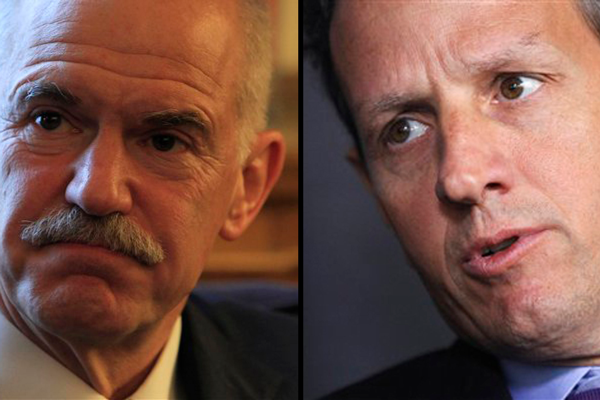 Left: Greek Prime Minister George Papandreou; Right: Tim Geithner         (AP)