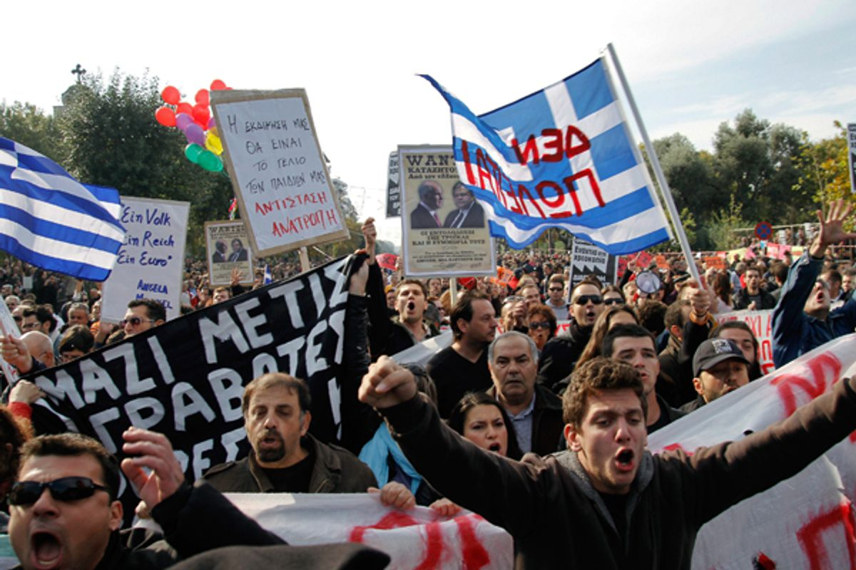 Protesters shout slogans as they protest against austerity policies in Greece.         (Reuters/Grigoris Siamidis)