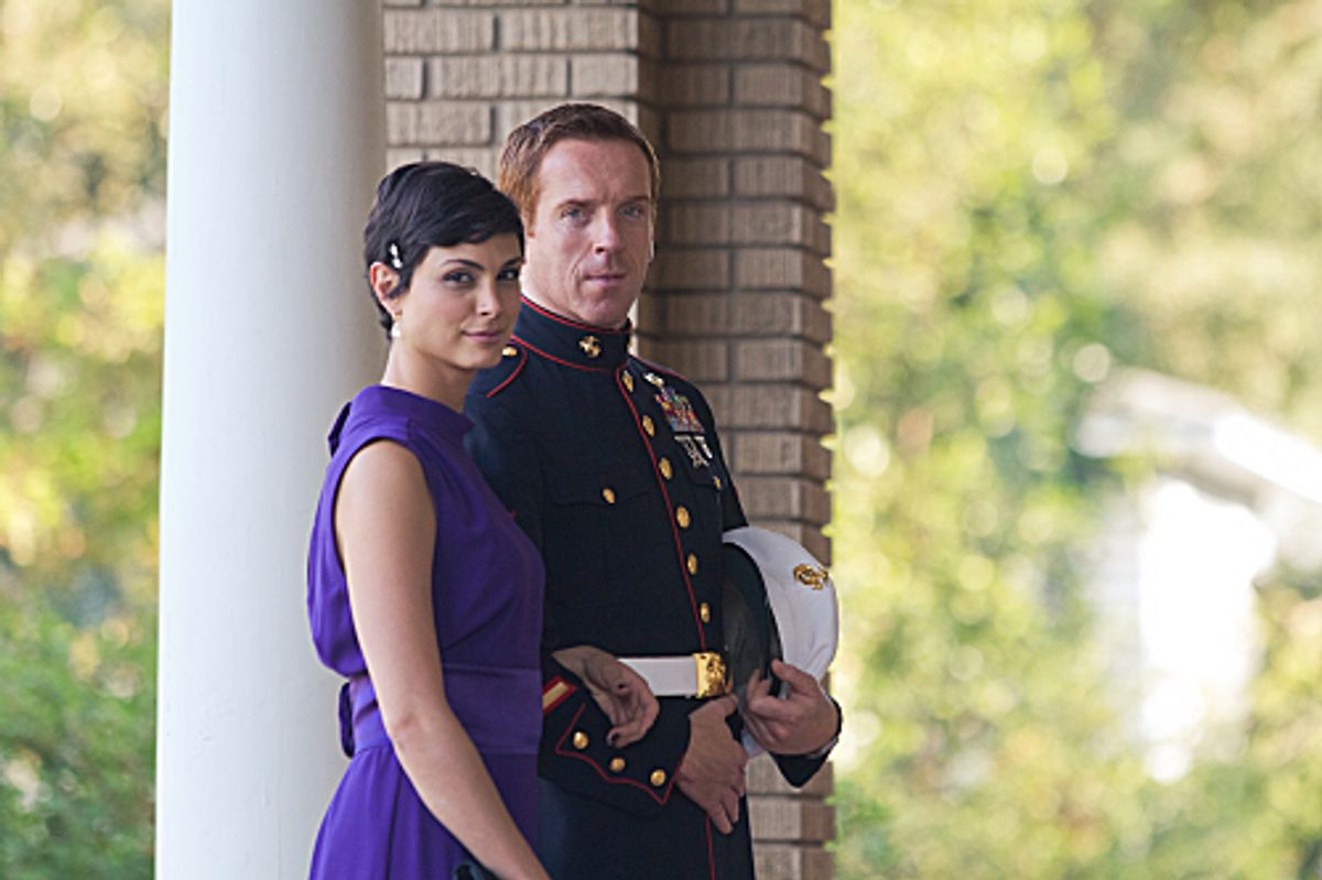 """Morena Baccarin as Jessica Brody and Damian Lewis as Nicholas """"Nick"""" Brody in """"Homeland.""""    (Kent Smith/Showtime)"""