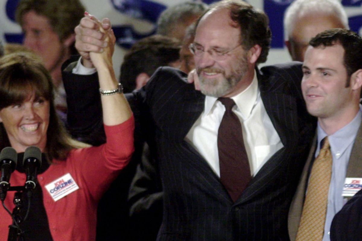 Jon Corzine celebrates his victory in the Democratic primary for the U.S. Senate in 2000.   (AP)