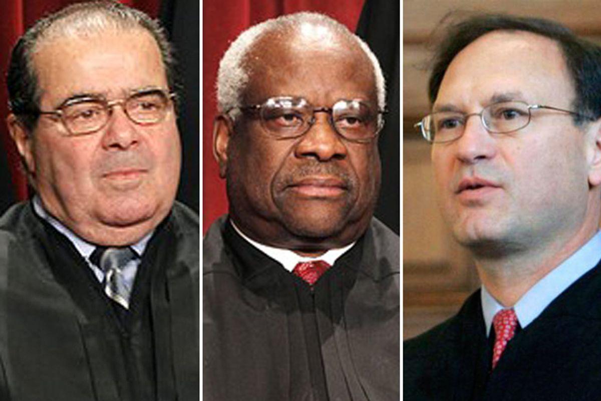 Antonin Scalia, Clarence Thomas and Samuel Alito       (AP)