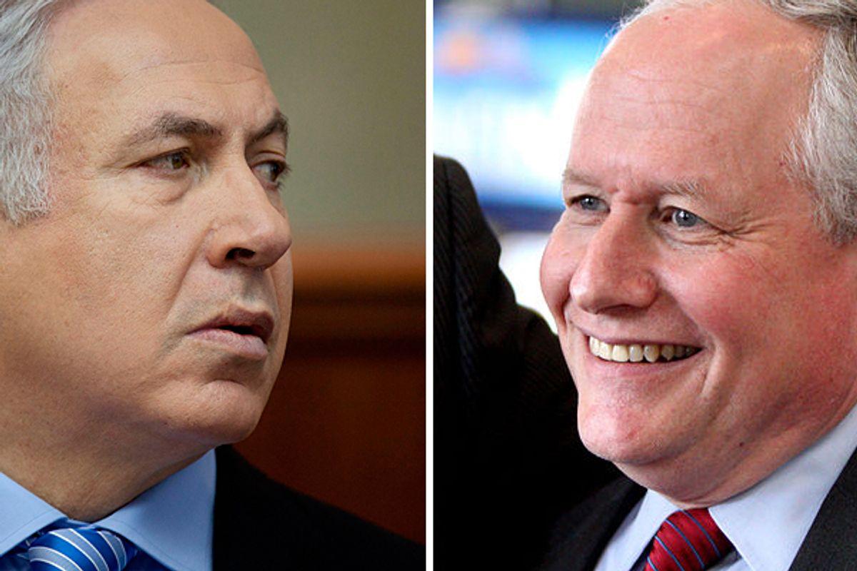 Israel's Prime Minister Benjamin Netanyahu and neonconservative William Kristol      (Reuters/<a href='http://en.wikipedia.org/wiki/File:Bill_Kristol_by_Gage_Skidmore.jpg'>Gage Skidmore</a>)