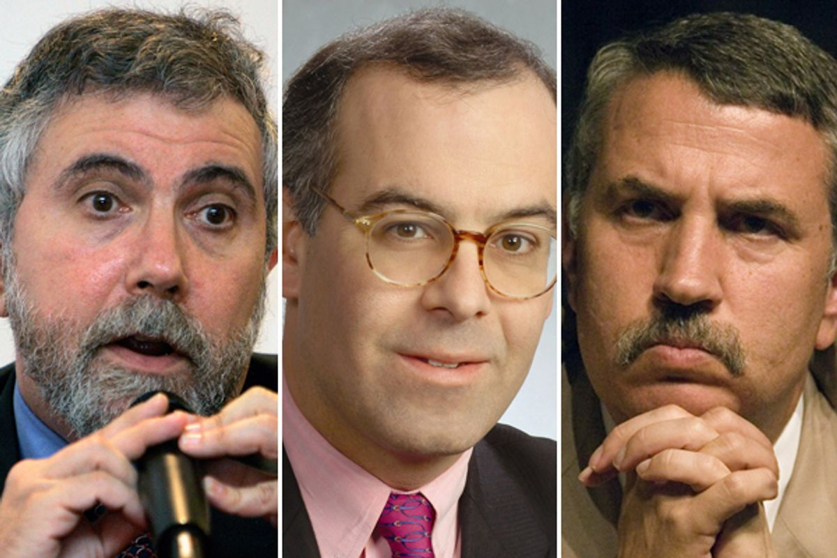 Paul Krugman, David Brooks and Thomas Friedman                (AP)