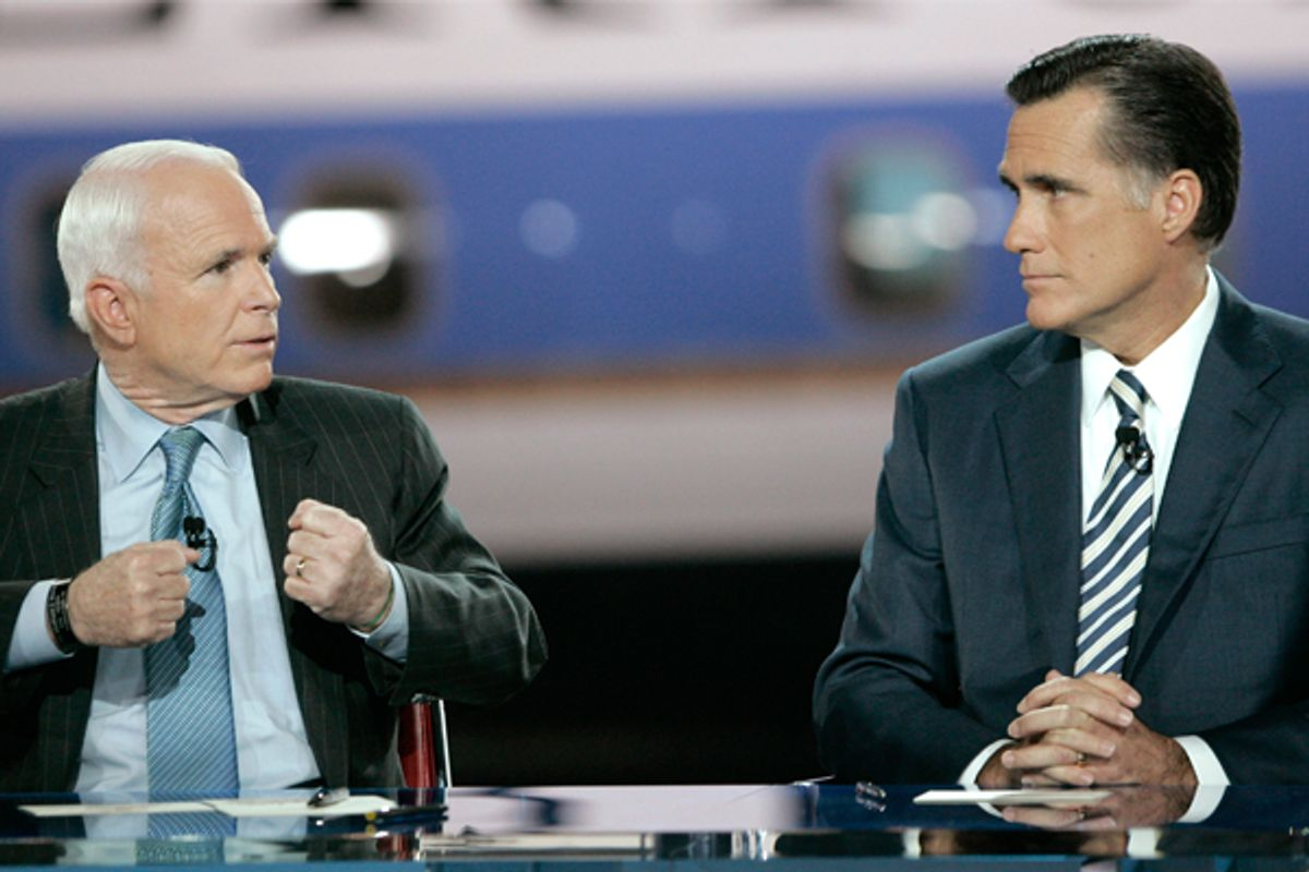 John McCain and Mitt Romney in 2008.   (Reuters/Robert Galbraith)
