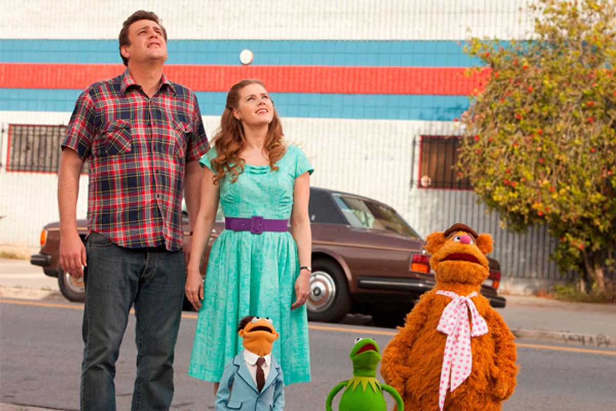 """Jason Segal, Amy Adams, Walter, Kermit the Frog and Fozzie Bear in """"The Muppets"""""""