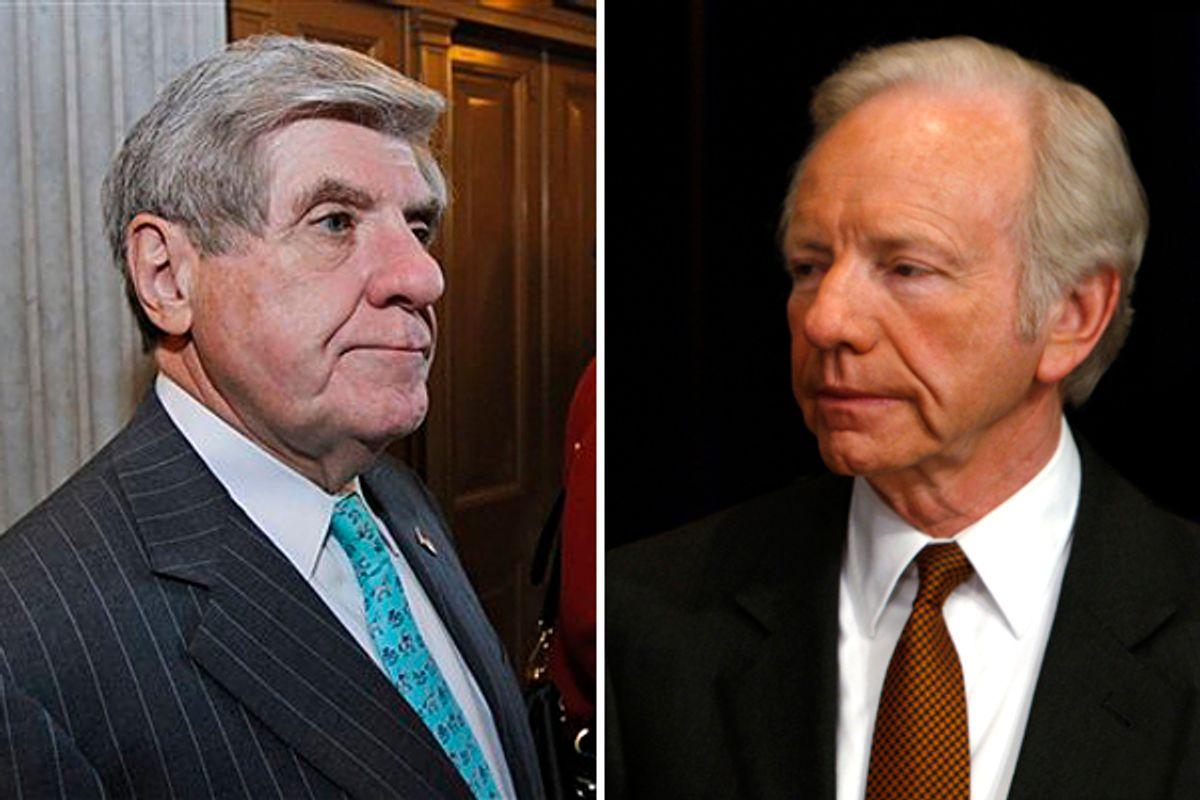 Sen. Ben Nelson and Sen. Joe Lieberman   (AP/Reuters)