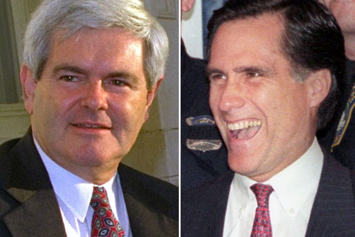Newt Gingrich and Mitt Romney in 1994.    (AP/Reuters)