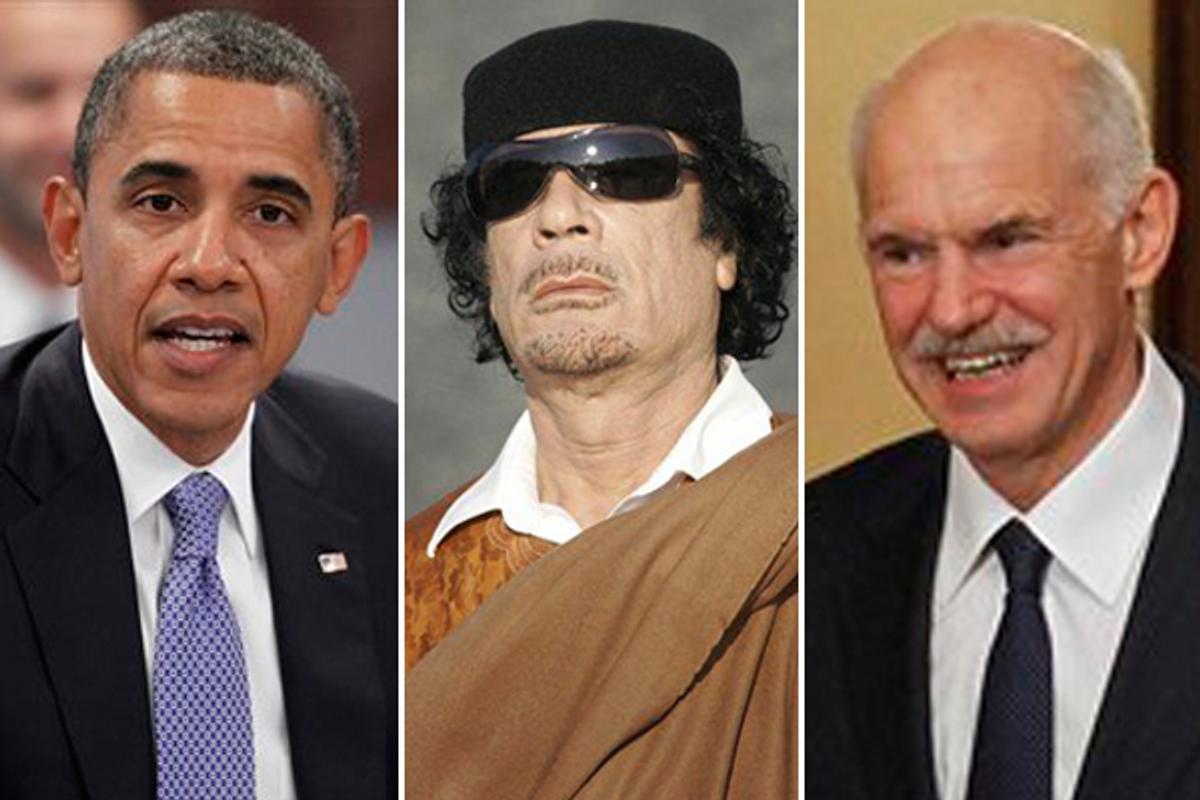 Barack Obama, Moammar Gadhafi and George Papandreou  (AP)