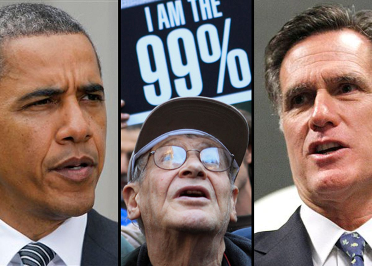 President Barack Obama and Mitt Romney (right). Center: A protester in Zuccotti Park.    (AP/Reuters)