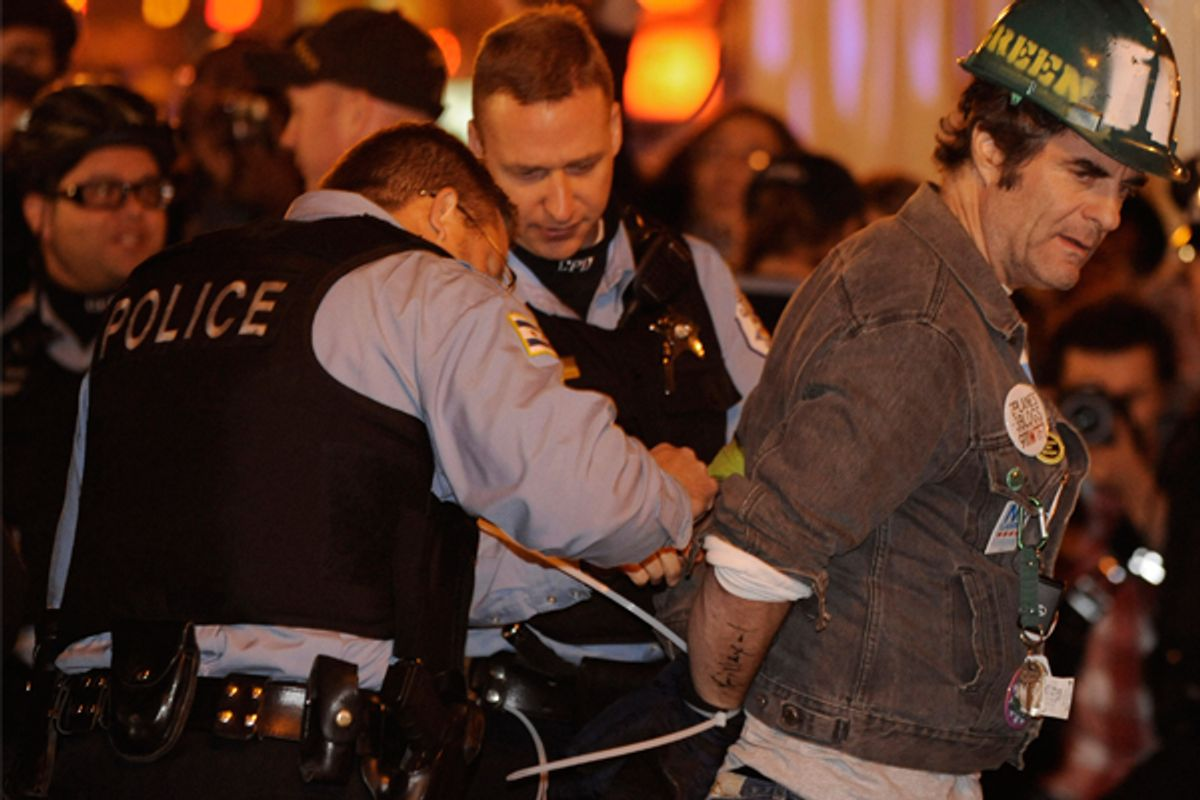 Occupy Chicago has not held any public space since mass arrests on Oct. 23.  (AP/Paul Beaty)