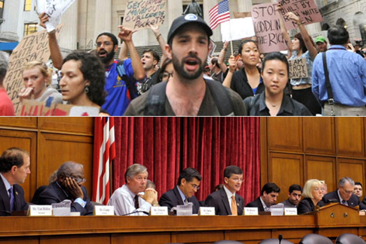 Occupy Wall Street Protesters, top, and the Joint Select Committee on Deficit Reduction   (AP)