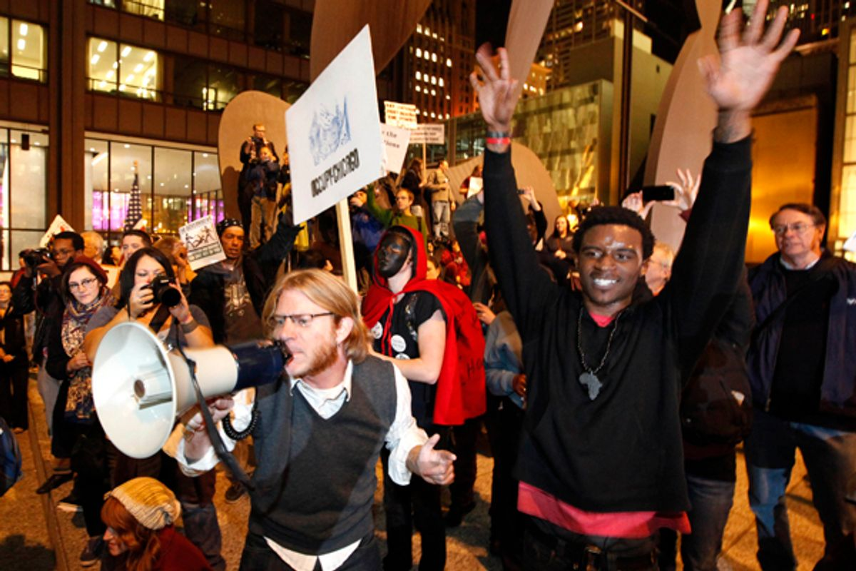 Occupy Wall Street protesters during a rally in Chicago       (AP/Charles Rex Arbogast)