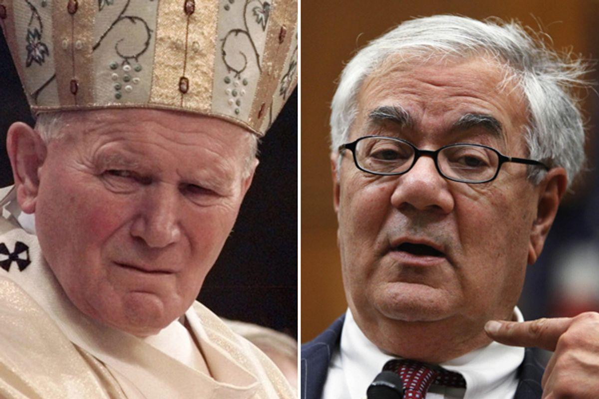 Pope John Paul II and Barney Frank             (AP)