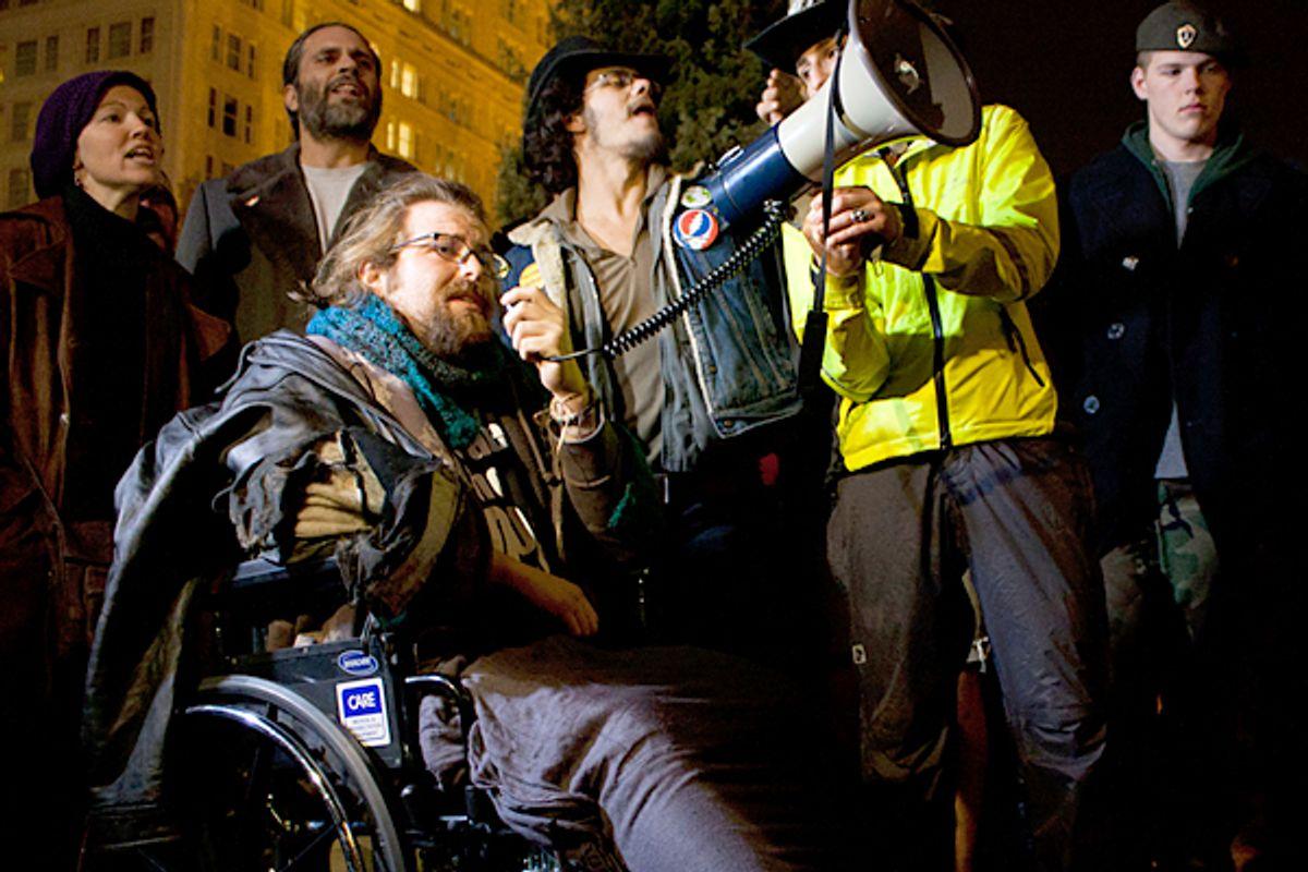 Justin Bridges suffered injuries during mass arrests at Occupy Portland.         (Lanlan Jin)