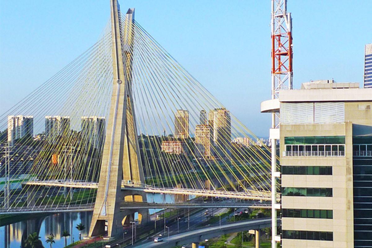 The Octavio Frias de Oliveira bridge, Sao Paulo, Brazil, from room 1017 of the Grand Hyatt.         (Patrick Smith)