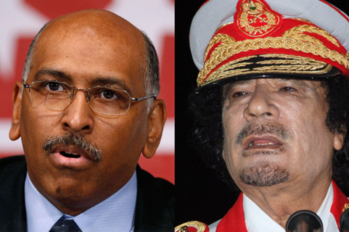 Michael Steele and Moammar Gadhafi      (Reuters/AP)