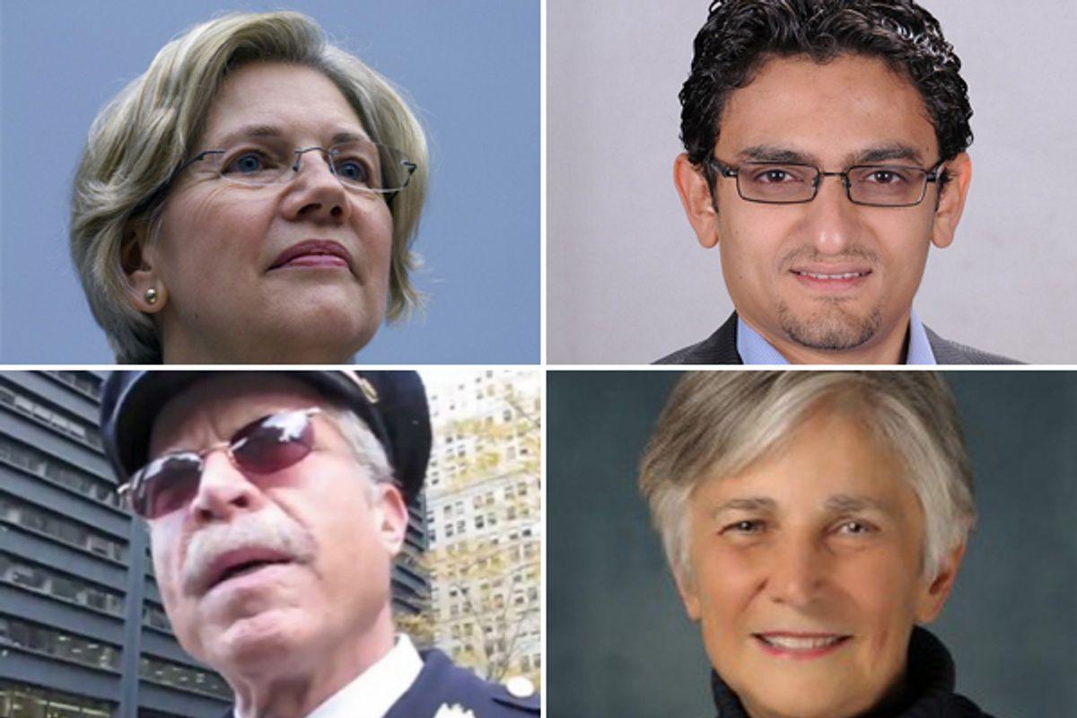 Clockwise from upper left: Elizabeth Warren, Wael Ghonim, Diane Ravitch and Ray Lewis