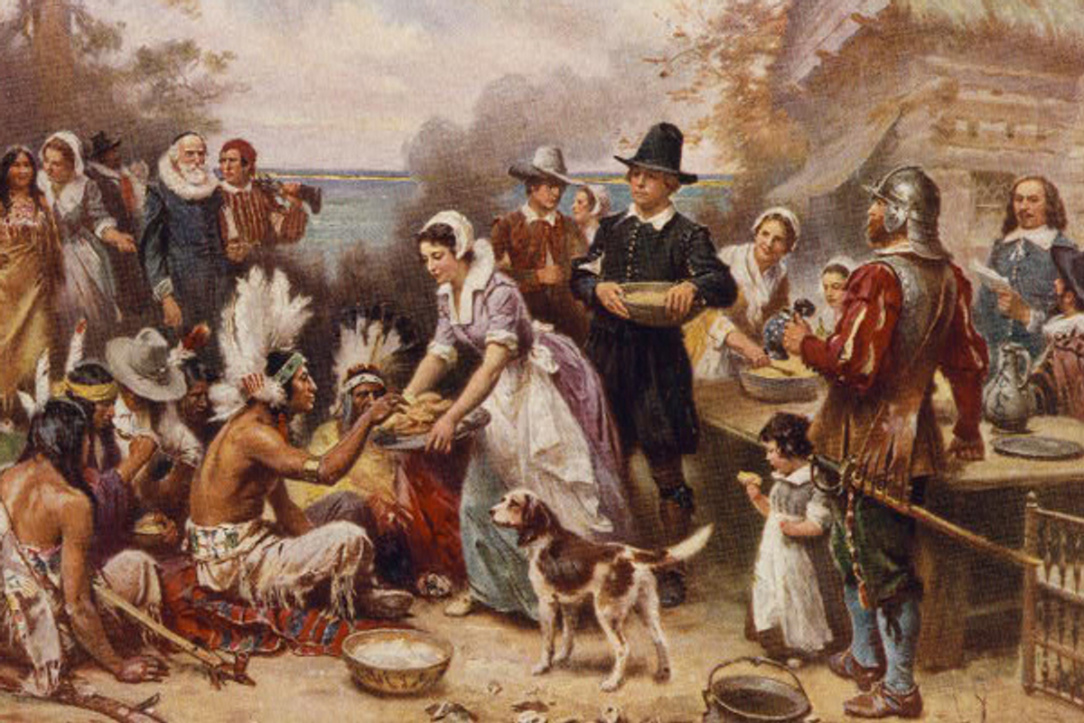 """Jean Leon Gerome Ferris' """"The First Thanksgiving 1621""""   (Library of Congress)"""