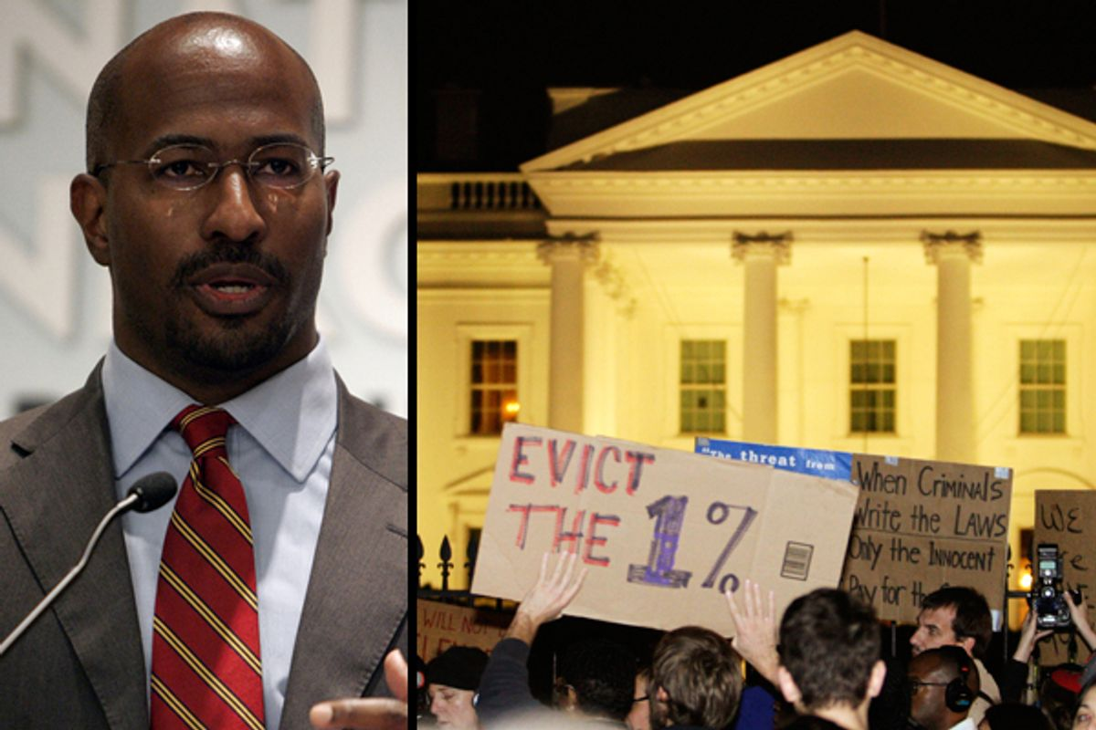 Left: Van Jones. Right: Occupy D.C. protesters march in front of the White House Nov. 15, 2011.  (<span about='http://www.flickr.com/photos/americanprogressaction/3819895883/' xmlns:cc='http://creativecommons.org/ns#'><a href='http://www.flickr.com/photos/americanprogressaction/3819895883/' rel='cc:attributionURL' target='_blank'>Center for American Progress Action Fund</a> / <a href='http://creativecommons.org/licenses/by/3.0/' rel='license' target='_blank'>CC BY 3.0</a></span>/Reuters/Hyungwon Kang)