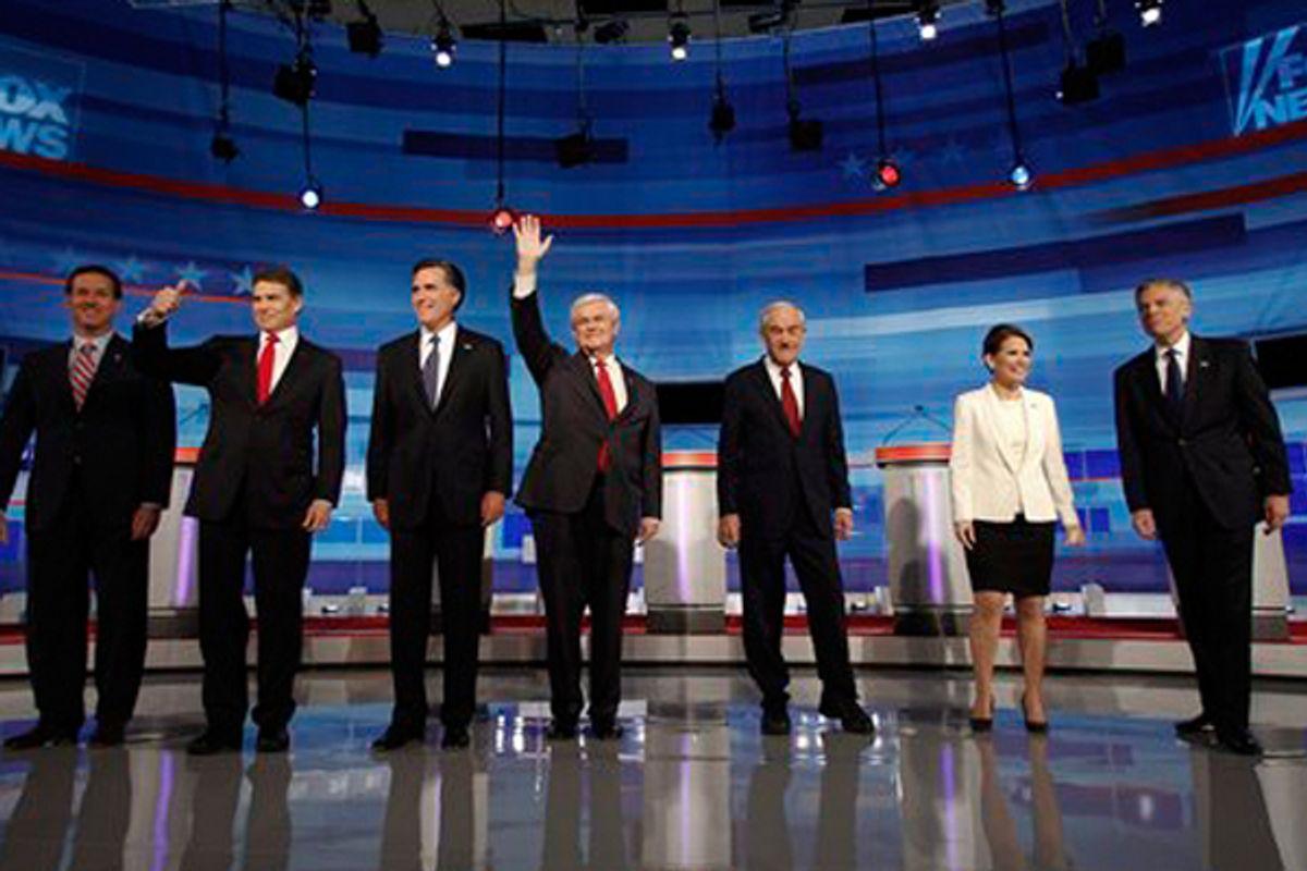 Rick Santorum, Rick Perry, Mitt Romney, Newt Gingrich, Ron Paul, Michele Bachmann and Jon Huntsman  (AP)