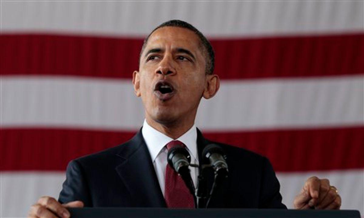 President Barack Obama speaks  to troops at Fort Bragg, N.C., Wednesday, Dec. 14, 2011.      (AP Photo/Carolyn Kaster)