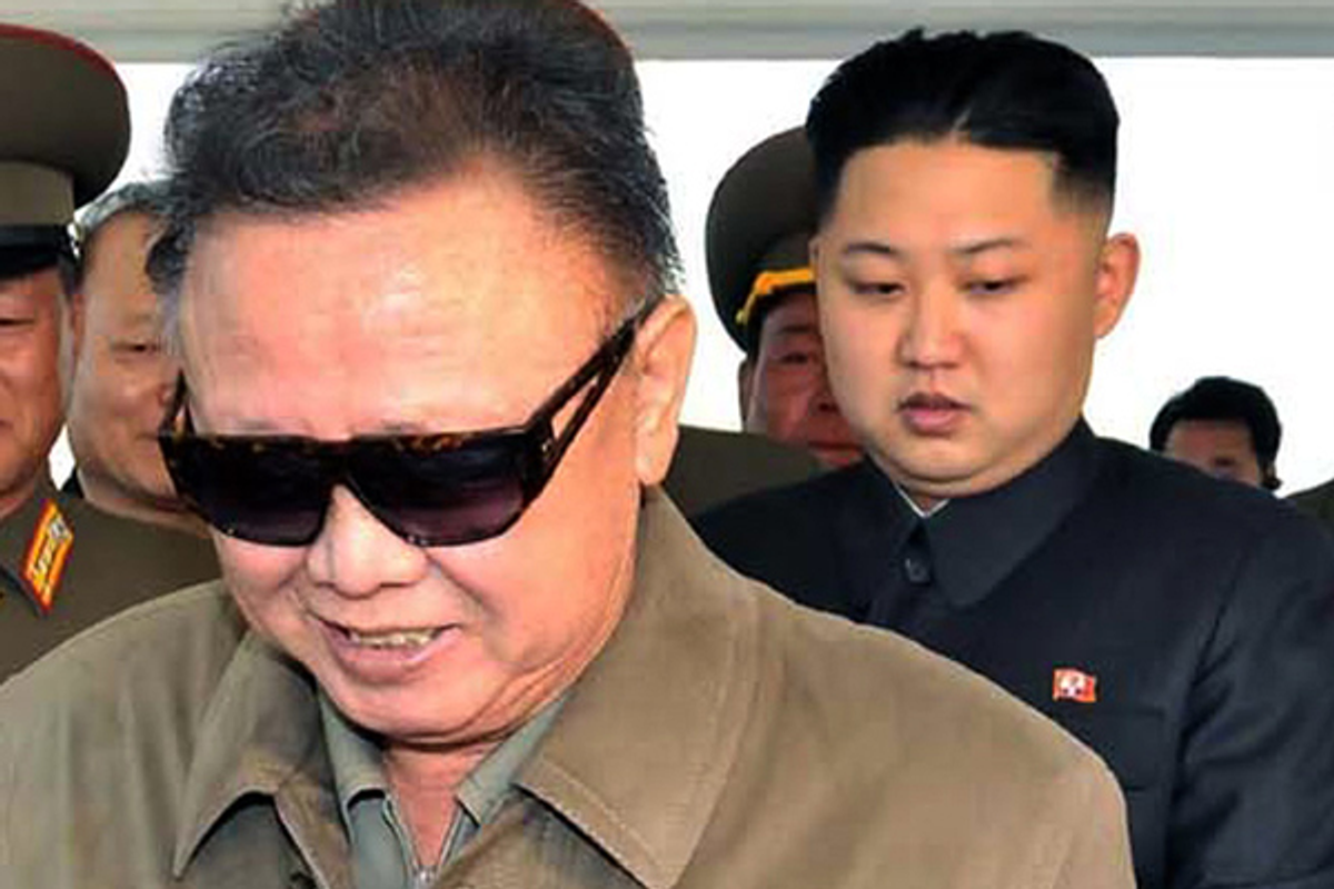 Kim Jong Il, left, with his son Kim Jong Un      (AP)