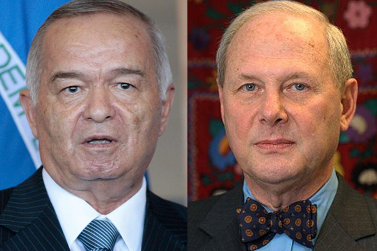 Uzbek president Islam Karimov and admirer professor Frederick Starr   (AP)