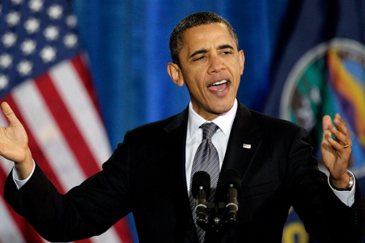 President Obama speaking in Osawatomie, Kansas, on Tuesday.     (AP/Charlie Riedel)
