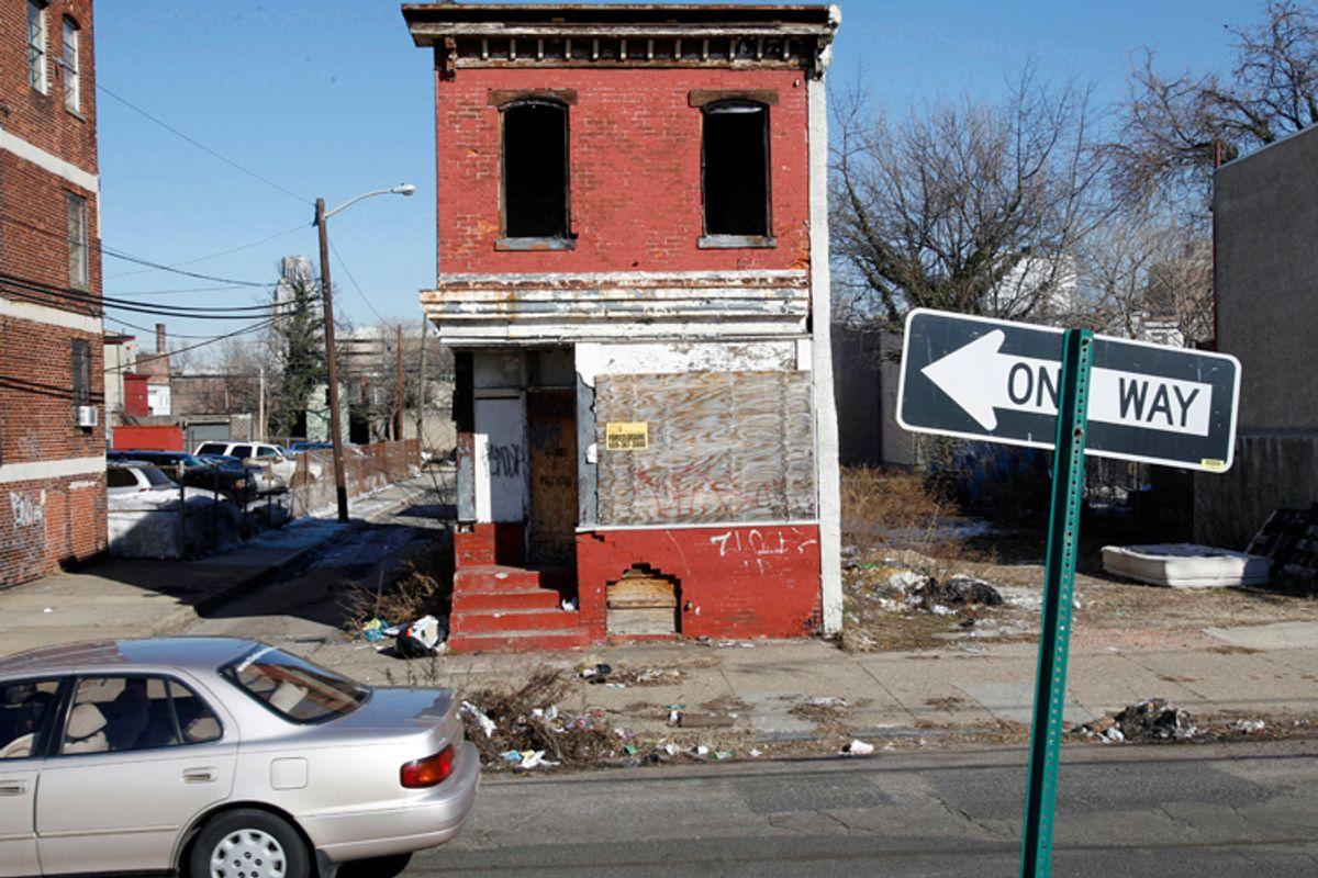 Boarded-up buildings in Camden, N.J.         (AP/Mel Evans)