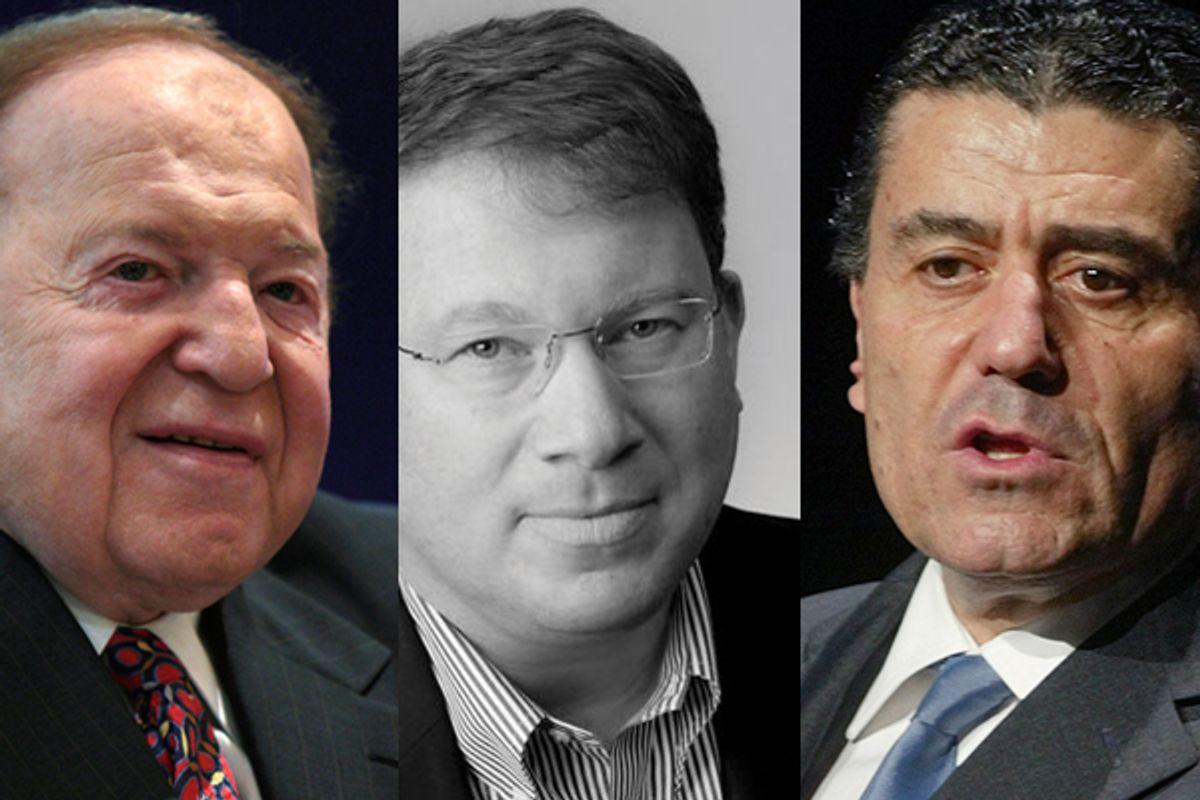 Sheldon Adelson, Jeffrey Goldberg, Haim Saban                (Reuters/columbiacurrent.org)