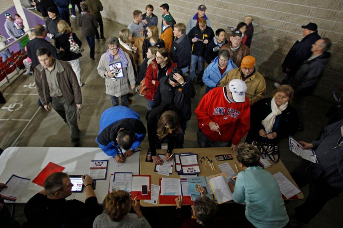 Caucus goers arrive in Iowa.       (Jeff Haynes / Reuters)