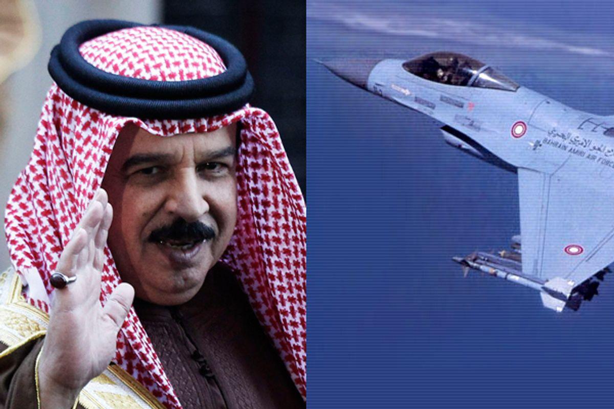 "Bahrain's King Hamad bin Isa al-Khalifa and an F-16      (Reuters/<a href=""http://www.xairforces.net/galleryd.asp?id=29&galleryid=23"">xairforces.net</a>)"