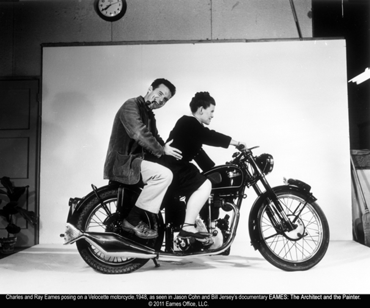Charles and Ray Eames posing on a Velocette motorcycle in 1948   (Eames Office LLC)