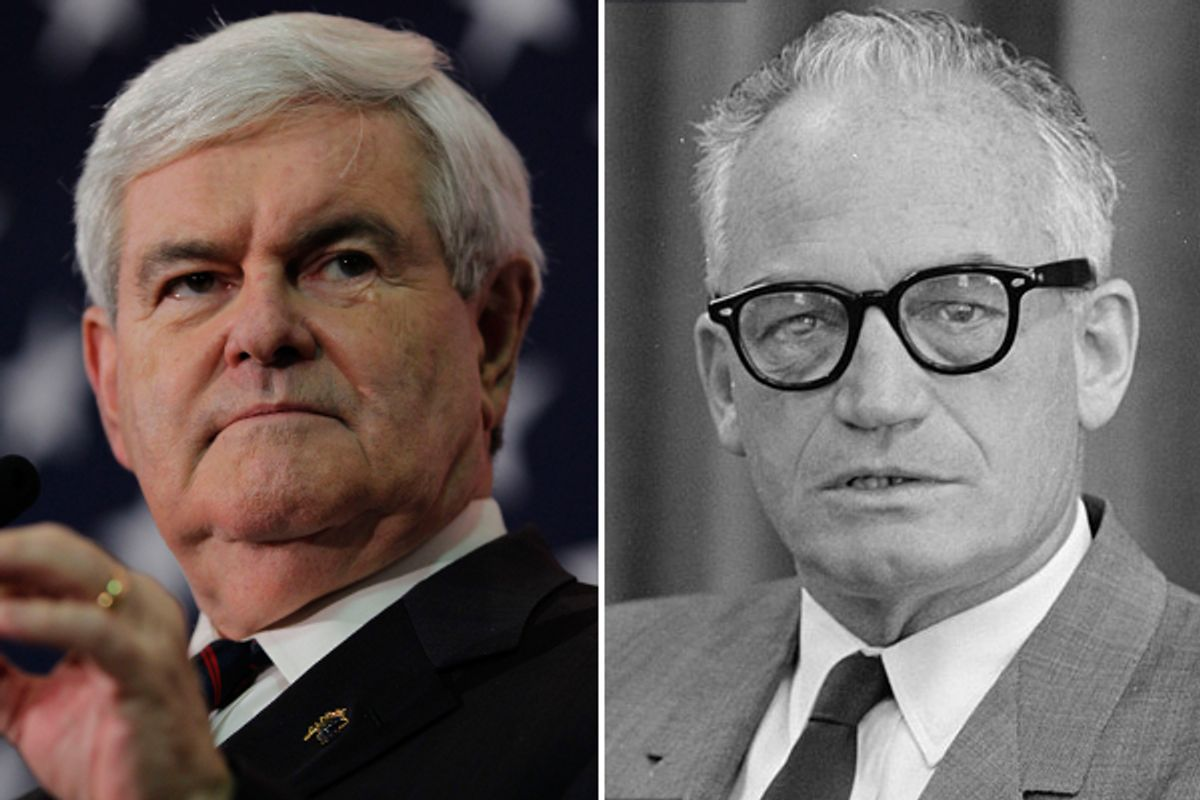 Newt Gingrich and Barry Goldwater (AP/Wikipedia)