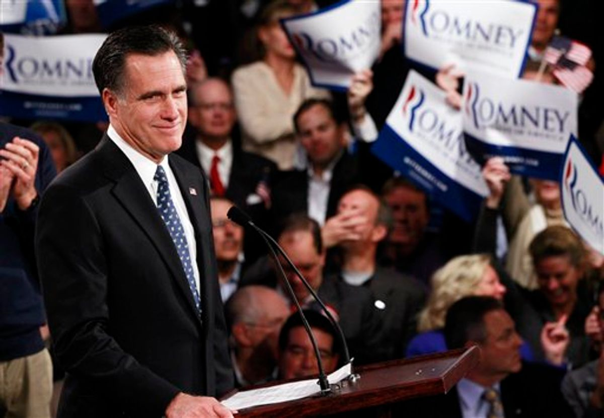Republican presidential candidate, former Massachusetts Gov. Mitt Romney, celebrates his New Hampshire primary election win in Manchester, N.H., Tuesday, Jan. 10, 2012. (AP Photo/Charles Dharapak)   (AP)