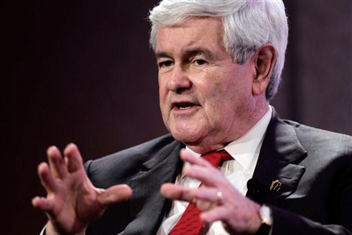 Republican presidential candidate, former House Speaker Newt Gingrich, speaks at the Personhood USA forum in Greenville, S.C., Wednesday, Jan. 18, 2012.  (AP Photo/Paul Sancya)       (AP)